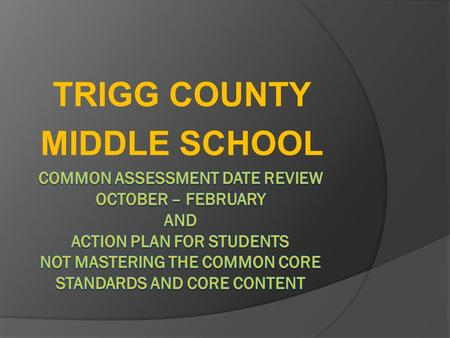 TRIGG COUNTY MIDDLE SCHOOL. 6 th Grade Reading Standard% of Students scoring 80% or higher RL 6.1 Cite textual evidence to support analysis of what the.