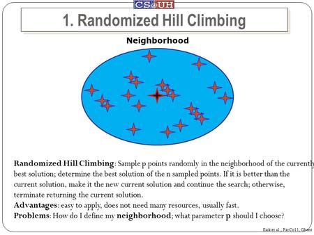 1. Randomized Hill Climbing Neighborhood Randomized Hill Climbing: Sample p points randomly in the neighborhood of the currently best solution; determine.