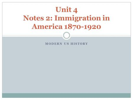 MODERN US HISTORY Unit 4 Notes 2: Immigration in America 1870-1920.
