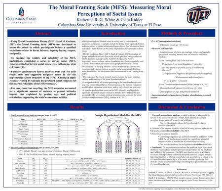 The Moral Framing Scale (MFS): Measuring Moral Perceptions of Social Issues Katherine R. G. White & Ciara Kidder Columbus State University & University.