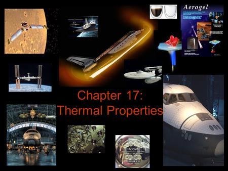 Chapter 17: Thermal Properties. Thermal Properties Heat capacity Specific Heat Thermal Energy Mechanism Coefficient of Thermal Expansion Thermal Conductivity.