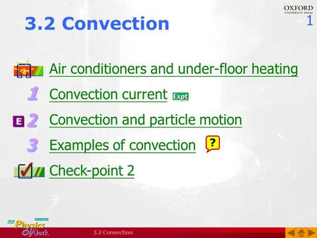 1 3.2 Convection Air conditioners and under-floor heating Convection current Convection and particle motion Examples of convection Check-point 2 ? E.
