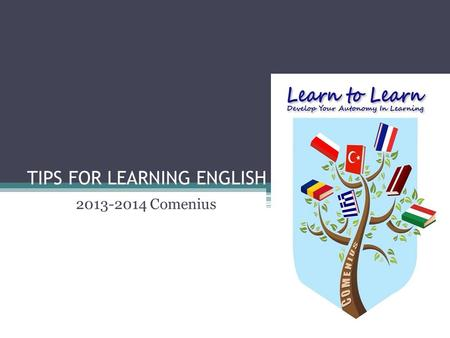 TIPS FOR LEARNING ENGLISH 2013-2014 Comenius. Have desire and know your motive! Want to learn a new language. Learning English requires a lot of study.