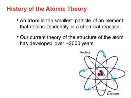 History of the Atomic Theory An atom is the smallest particle of an element that retains its identity in a chemical reaction. Our current theory of the.