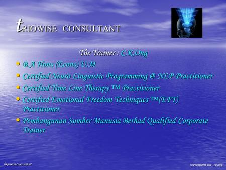 T RIOWISE CONSULTANT The Trainer : C.K.Ong B.A Hons (Econs) U.M B.A Hons (Econs) U.M Certified Neuro Linguistic NLP Practitioner Certified.