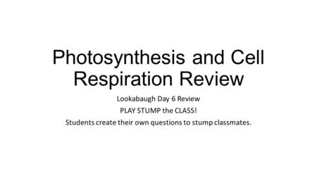Photosynthesis and Cell Respiration Review Lookabaugh Day 6 Review PLAY STUMP the CLASS! Students create their own questions to stump classmates.