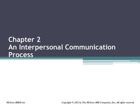 Chapter 2 An Interpersonal Communication Process Copyright © 2011 by The McGraw-Hill Companies, Inc. All rights reserved.McGraw-Hill/Irwin.