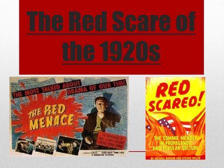 The Red Scare of the 1920s. What do you know about the Salem Witch Trials?