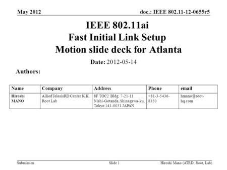 Doc.: IEEE 802.11-12-0655r5 Submission May 2012 Hiroshi Mano (ATRD, Root, Lab)Slide 1 IEEE 802.11ai Fast Initial Link Setup Motion slide deck for Atlanta.