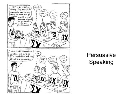 Persuasive Speaking. The nature of persuasive speeches Persuasive Speeches attempt to influence audience members Speakers want to: –have audience adopt.