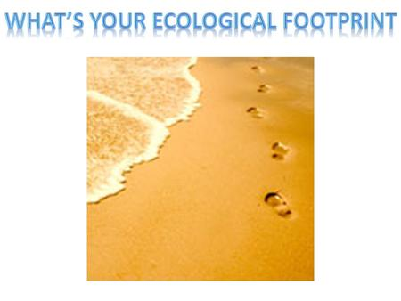 The ecological footprint is a method to calculate one's impact on the environment. It measures the amount of water and land that a person would require.