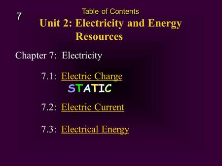 Chapter 7: Electricity Unit 2: Electricity and Energy Resources Table of Contents 7 7 7.3: Electrical EnergyElectrical Energy 7.1: Electric Charge STATIC.