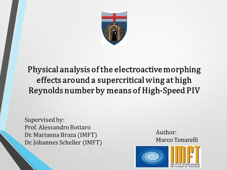Physical analysis of the electroactive morphing effects around a supercritical wing at high Reynolds number by means of High-Speed PIV Supervised by: Prof.