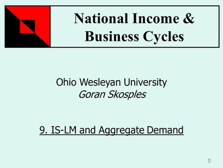 National Income & Business Cycles 0 Ohio Wesleyan University Goran Skosples 9. IS-LM and Aggregate Demand.