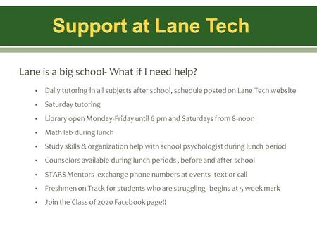 Lane is a big school- What if I need help? Daily tutoring in all subjects after school, schedule posted on Lane Tech website Saturday tutoring Library.
