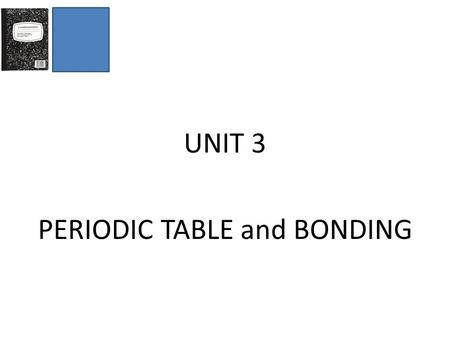 UNIT 3 PERIODIC TABLE and BONDING. Types of Matter Element - _______________ substance _______________ kind of _______________ − represented by ______________.
