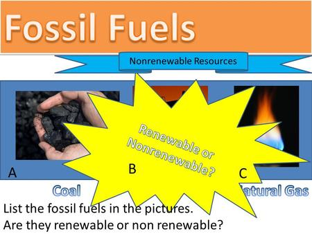 Nonrenewable Resources List the fossil fuels in the pictures. Are they renewable or non renewable? A C B.