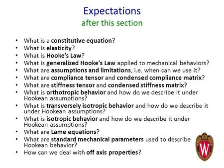Expectations after this section What is a constitutive equation? What is elasticity? What is Hooke's Law? What is generalized Hooke's Law applied to mechanical.
