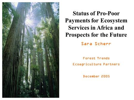 Status of Pro-Poor Payments for Ecosystem Services in Africa and Prospects for the Future Sara Scherr Forest Trends Ecoagriculture Partners December 2005.