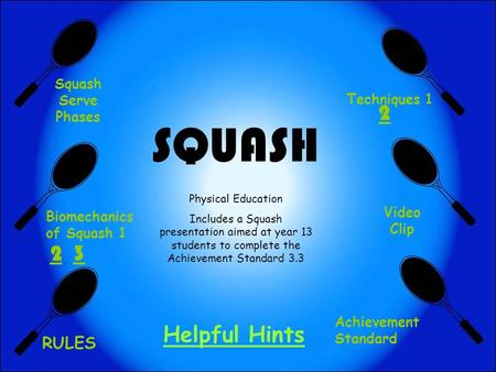 SQUASH Physical Education Includes a Squash presentation aimed at year 13 students to complete the Achievement Standard 3.3 Squash Serve Phases Biomechanics.