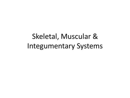 Skeletal, Muscular & Integumentary Systems. Do Now If you ever knew someone that broke a bone, or pulled/strained a muscle, write down what it was.