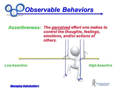 Managing Stakeholders Observable Behaviors The perceived effort one makes to control the thoughts, feelings, emotions, and/or actions of others. Assertiveness:
