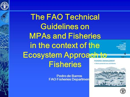 The FAO Technical Guidelines on MPAs and Fisheries in the context of the Ecosystem Approach to Fisheries Pedro de Barros FAO Fisheries Department.