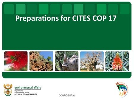 Preparations for CITES COP 17 1 CONFIDENTIAL. OUTLINE Background information Hosting of CITES CoP 17 Possible agenda items & proposals to the 17 th CoP.