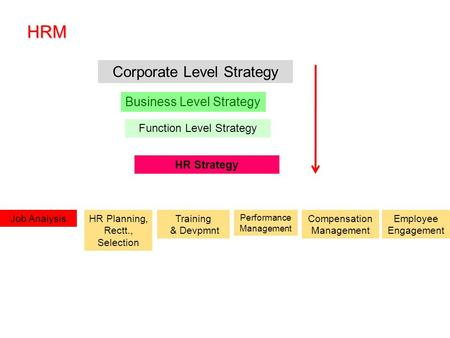 HRM Corporate Level Strategy Business Level Strategy Function Level Strategy HR Strategy Training & Devpmnt HR Planning, Rectt., Selection Job Analysis.