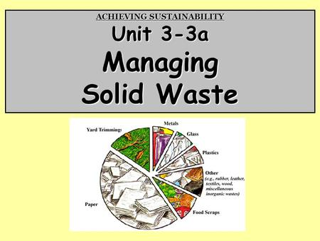 ACHIEVING SUSTAINABILITY Unit 3-3a Managing Solid Waste.