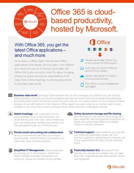 Office 365 is cloud- based productivity, hosted by Microsoft. Business-class email Gain large, 50GB mailboxes that can send messages up to 25MB in size,