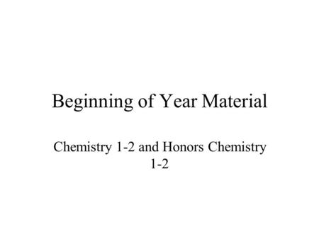 Beginning of Year Material Chemistry 1-2 and Honors Chemistry 1-2.