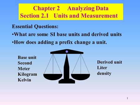 1 Chapter 2 Analyzing Data Section 2.1 Units and Measurement Essential Questions: What are some SI base units and derived units How does adding a prefix.