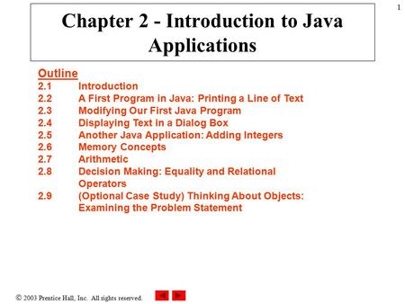  2003 Prentice Hall, Inc. All rights reserved. 1 Chapter 2 - Introduction to Java Applications Outline 2.1Introduction 2.2A First Program in Java: Printing.