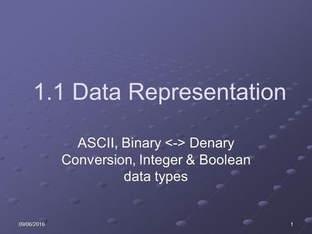 09/06/20161 1.1 Data Representation ASCII, Binary Denary Conversion, Integer & Boolean data types.