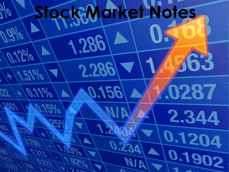Stock Market Notes.  Definition: Part ownership in a business › If the business is successful, you make money › If not, you lose money  How much stock.