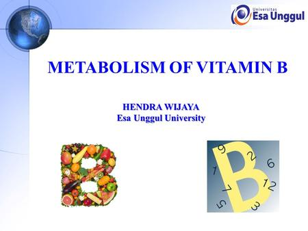 METABOLISM OF VITAMIN B HENDRA WIJAYA Esa Unggul University.