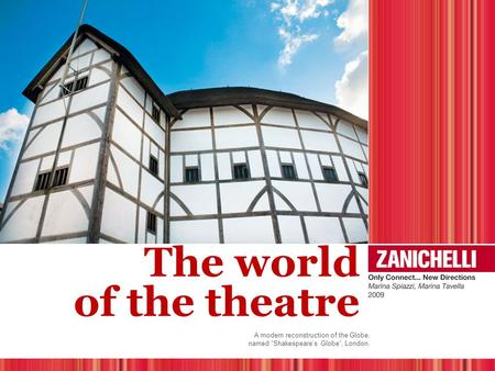 "The world of the theatre A modern reconstruction of the Globe, named ""Shakespeare's Globe"", London."
