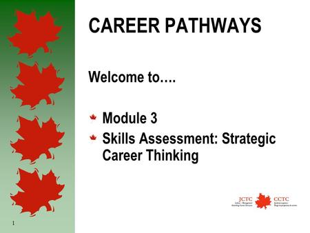 1 CAREER PATHWAYS Welcome to…. Module 3 Skills Assessment: Strategic Career Thinking.