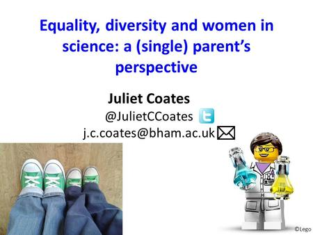 Equality, diversity and women in science: a (single) parent's perspective Juliet ©Lego.