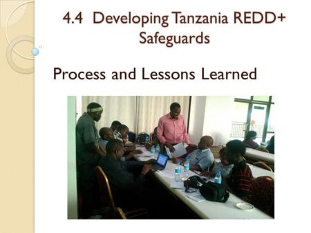 4.4 Developing Tanzania REDD+ Safeguards Process and Lessons Learned.