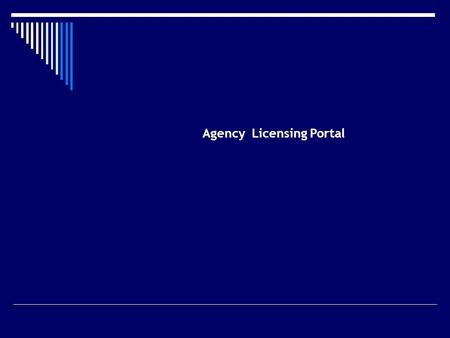 Agency Licensing Portal. FUNCTIONALITY Agent Registration Portal Designated Person (Ins. Co.) Service Provider ----------------------- 1.Care-Site 2.Tech.