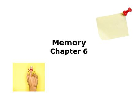 Memory Chapter 6. Overview Define Memory Storage Model of Memory Sensory Memory Short Term Memory (STM) Increase Storage Time Long Term Memory (LTM) How.