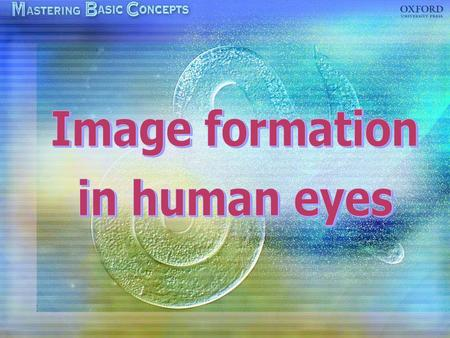 The eye Image formation Accommodation Focusing on near objects Focusing on distant objects Eye defects: short sight, long sight, colour blindness.