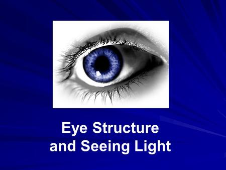 Eye Structure and Seeing Light. The eye is like a camera: Light enters, is focused on a surface, and a picture is made. Light enters your eye through.