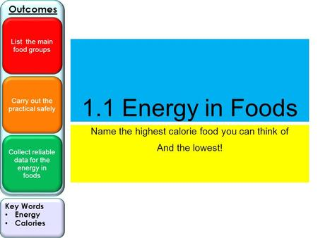 Carry out the practical safely Collect reliable data for the energy in foods Outcomes List the main food groups Key Words Energy Calories 1.1 Energy in.
