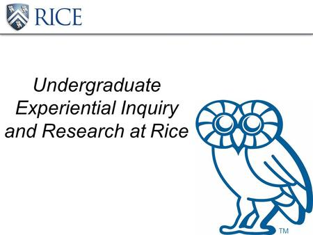 Undergraduate Experiential Inquiry and Research at Rice.