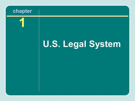 Chapter 1 U.S. Legal System. Chapter Objectives After reading this chapter, you will know the following: The primary sources of law in the U.S. legal.