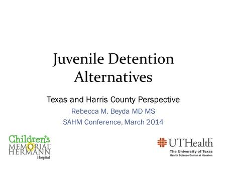 Juvenile Detention Alternatives Texas and Harris County Perspective Rebecca M. Beyda MD MS SAHM Conference, March 2014.