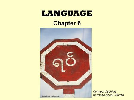 LANGUAGE Chapter 6 © Barbara Weightman Concept Caching: Burmese Script -Burma.
